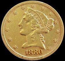 1880 GOLD 8.359 GRAM $5 LIBERTY HEAD HALF EAGLE COIN PHILADELPHIA MINT