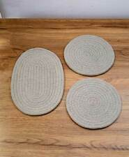Set of 3 Fabric Trivets Kitchen Table top Countertop Protectors Hot Pads - Gray
