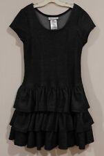 EUC Bonnie Jean Girls Spring Faux Denim Soft Knit Ruffled Dress Size 8