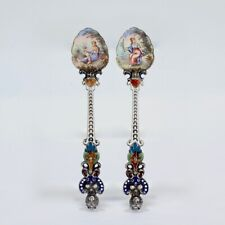 Pair of Antique Viennese Enamel and Silver Demitasse Spoons - VR