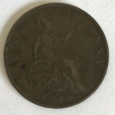 Antique Victoria Victorian 1889 Penny Copper Coin