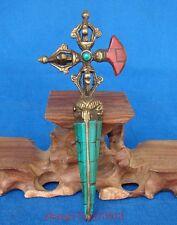 Handmade Statue Tibetan Bronze turquoise Coral Inlaid Religion Amulet