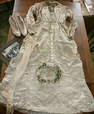 Antique Victorian Wedding Dress and Accessories -Shoes, Head Dress, Stockings AF