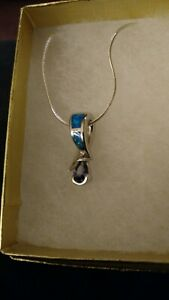SS Inlaid Opal And Amethyst Pendant And Chain