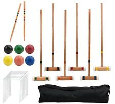 6 Player Outdoor Croquet Set with Deluxe Carrying Case Game Play Sports Tools