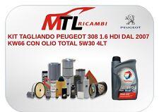 KIT TAGLIANDO PEUGEOT 308 1.6 HDI DAL 2007 KW66 CON OLIO TOTAL 5W30 4LT