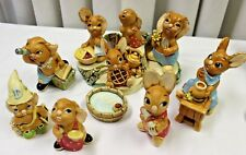 Pendelfin Rabbit Village Collection of 10 Figures, Stand & Water Barrel