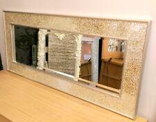 craquelé miroir mosaique champagne cadre mural longue 120x50cm fait à la main
