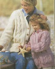 2f000f83cb4d1 Patons Aran Knitting Pattern Ladies Girls Cardigan Size 26 To 48