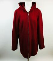 London Fog Womens L/S Hooded Zip Up Jacket Size Large Red Wool Blend Lined
