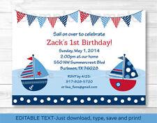 Sail Away Sailboat Nautical Blue Printable Birthday Invitation Editable PDF