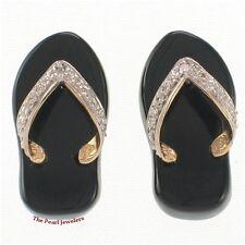 14k Yellow Gold Diamond & Flip-Flop Slipper Design Black Onyx Stud Earrings TPJ