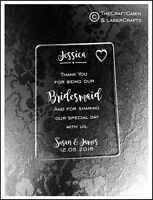 Personalised Bridesmaid Gift Wallet Card Keepsake. High Quality Engraved Acrylic