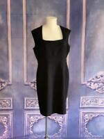 Jones New York Black Square Neck Sheath Dress SZ 16 Soft Knit Sleeveless Career