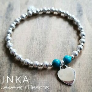 Inka 925 Sterling Silver 5mm beaded Stacking Bracelet with a large Heart charm