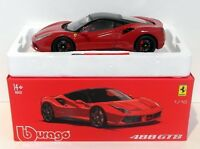 Burago 1/18 Scale Metal Model 18-16905 - Ferrari 488 GTB - Rosso Red