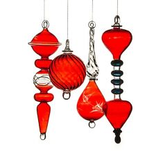 4x Transparent Red hand Blown hanging christmas ornaments ribbed Glass