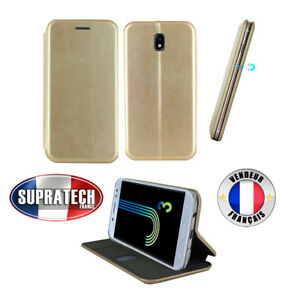 Etui Luxe Rabattable Or Simili Cuir Avec Support pour Samsung Galaxy J3 2017