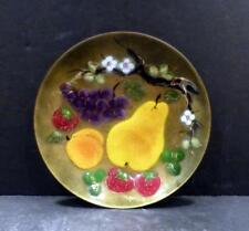 Studio Copper Enamel Plate With Fruit by M. Ratcliff - Mint