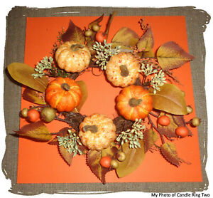 Valerie Parr Hill Fall Autumn (2) Pumpkin Candle Rings