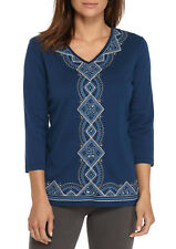 Alfred Dunner Women's Center Embroidery, 3/4 Slv, - Color Lapis - Size L