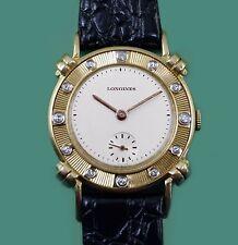Vintage 1950s LONGINES Diamond Bezel Solid Gold Case Mens Watch w/Box & Buckle