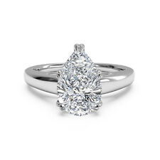 5.75 Ct Pear Cut Moissanite Solitaire Ring 14K White Gold Wedding Rings Size M N
