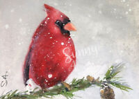 ACEO art print Cardinal in Snow watercolor winter Gift for bird lovers
