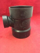 """One New ABS Plastic Pipe Fitting (2) 4"""" (1) 2"""" WYE Tee 6.75"""" Long Black"""