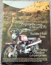 HARLEY-DAVIDSON 125CC RAPDIO MOTORCYCLE ORIG. VTG 1970 PHOTO AD, COLLECTIBLE