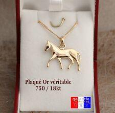 Collier cheval lot neuf pendentif et chaine en vrai plaqué or 750 avec boite