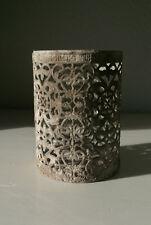 Holzlaterne Metall grau Windlicht orientalisch antik Vintage Look Henkel 26cm