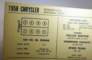 1958 Chrysler Windstar LC1-L Saratoga LC2-M Sun Electric Car Specs Sheet Chart