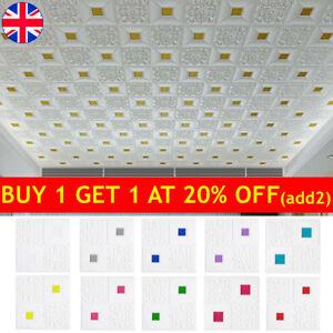 10X 3D Tile Brick Ceiling Panel Wall Sticker Self Adhesive Foam Wallpaper Stick