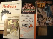 5 BOOKS ON WOOD HEAT FIREPLACES STOVES CUT SPLIT SEASON BURN WOOD CHAIN SAW