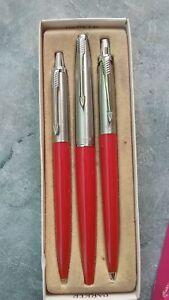 Parker  Jotter  Set Floating  Ball & Ballpoint Pen & Pencil Red New In Box Brass