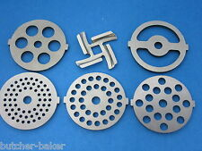 6 pc. SET Meat Grinder plate disc part  with tabs & knife for small electric MTN