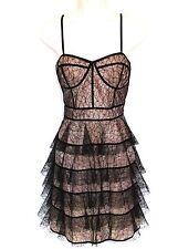 Jill Stuart Sz 12 Dress Pink Black Mesh Tiered Lace Overlay Bustier Madonna Vtg