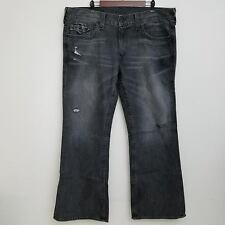 True Religion Billy Jeans 42x33 Gray Black Boot Cut Destroyed 100% Cotton Denim