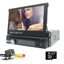 "Single 1Din 7"" Flip Up Car Stereo DVD CD Radio Player GPS Touch Screen+US Camera"