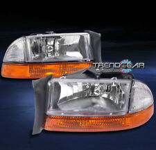 1997-2004 DODGE DAKOTA/1998-2003 DURANGO HEAD LIGHT CHROME W/AMBER BUMPER+CORNER