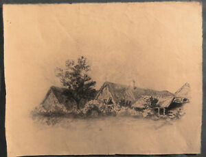 Drawing Charcoal Antique Towards 1940 Cottage - 32,5 X 24,5 CM