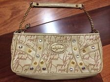 Authentic GUC Baby Phat Small Bag Purse Gold Handle Emblem Studs CUTE