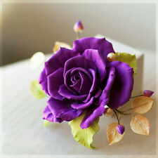 Floral wedding brooch HANDCRAFTED Fashion polymer clay purple rose Pin HANDMADE