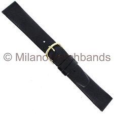 18mm Hirsch Dakota Black Genuine Leather Unstitched & Flat Watch Band Regular