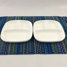 RePlay Recycled Materials Childrens White Divided Compartment Plate Set Of 2