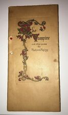 The Vampire And Other Poems By Rudyard Kipling late 1800's 1890 Early Rare Book