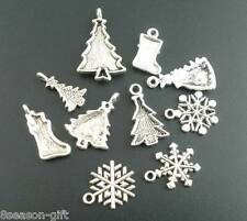 10Pcs Gift Mixed Silver Tone Christmas Motif Charms Pendants NEW 2019 #1