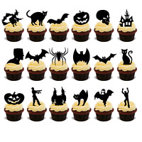 144 x HALLOWEEN EDIBLE CARD SILHOUETTE STAND UP PARTY CUP CAKE TOPPERS RICE UPS