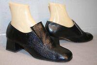 7.5 MOD GoGo Cover Girl NOS Vtg 1960s 1970s Black Embossed Shoe 60s Chunky Heel